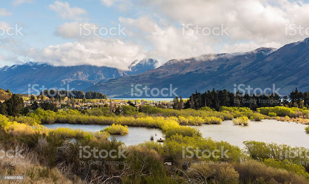 Wetland swamp in glacial Rees Dart river valley stock photo