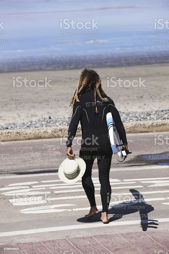 Wetsuit Surfer Athlete Carrying Surfboard stock photo