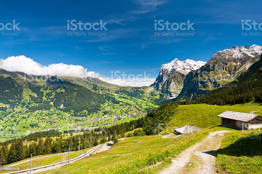 Wetterhorn and Grindelwald, Swiss Alps stock photo