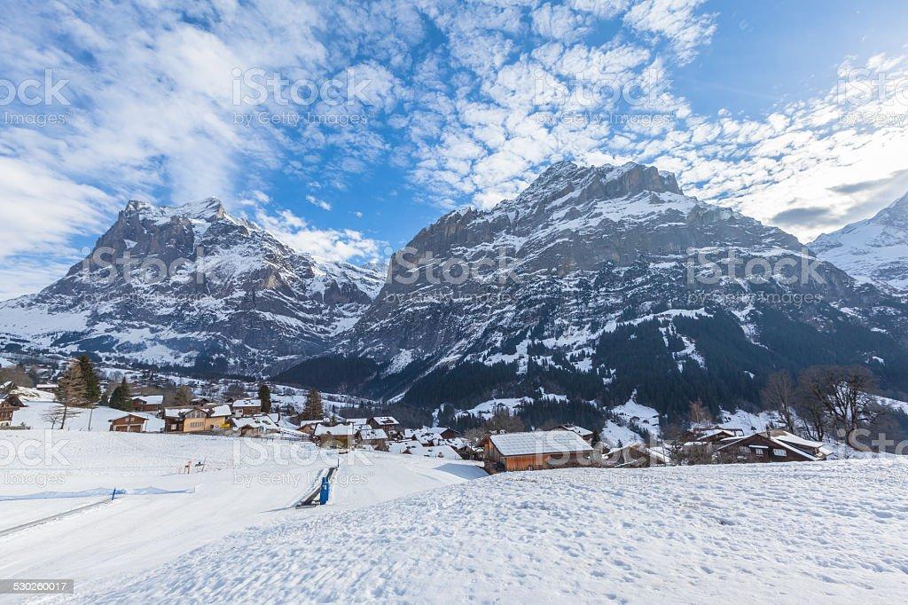 Wetterhorn and Schreckhorn of Grindelwald in Winter stock photo