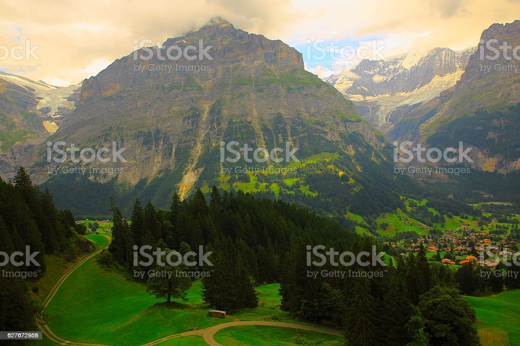 Wetterhorn, country road above Grindelwald landscape: Swiss Alps stock photo