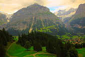 Wetterhorn, country road above Grindelwald landscape: Swiss Alps