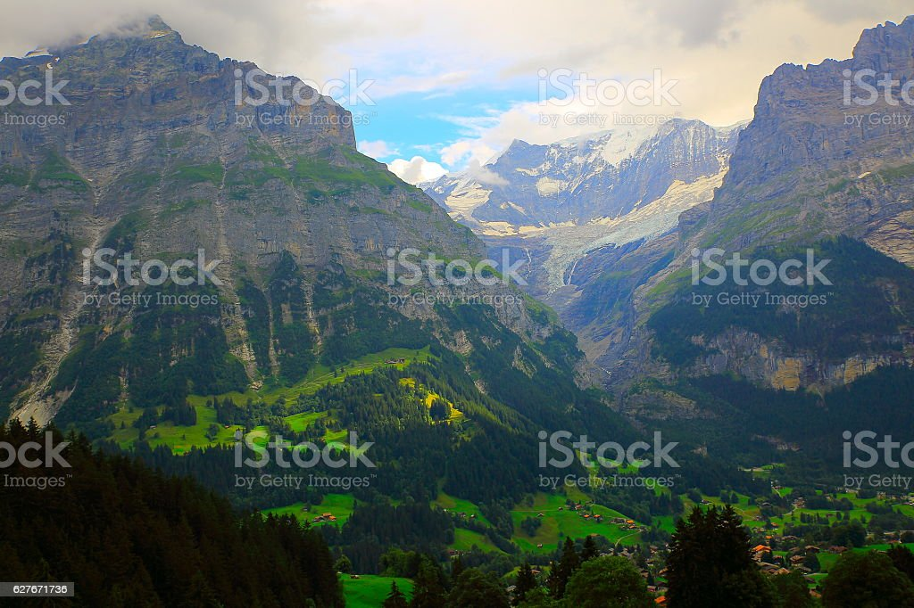 Wetterhorn, Idyllic meadows above Grindelwald valley landscape: Swiss Alps stock photo