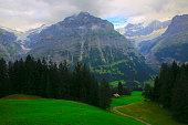 Wetterhorn, Idyllic swiss chalets above Grindelwald valley landscape: Swiss Alps
