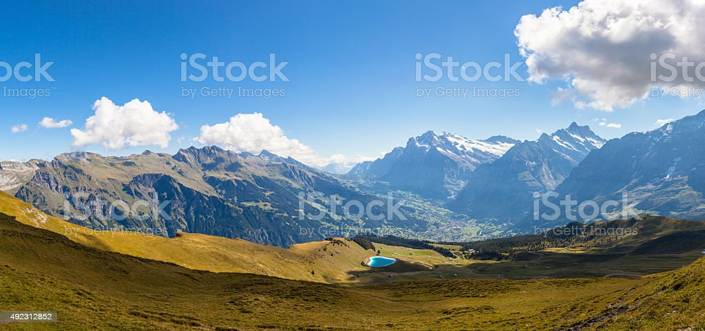 Wetterhorn, Schreckhorn, the Bernese Alps and Grindelwald stock photo