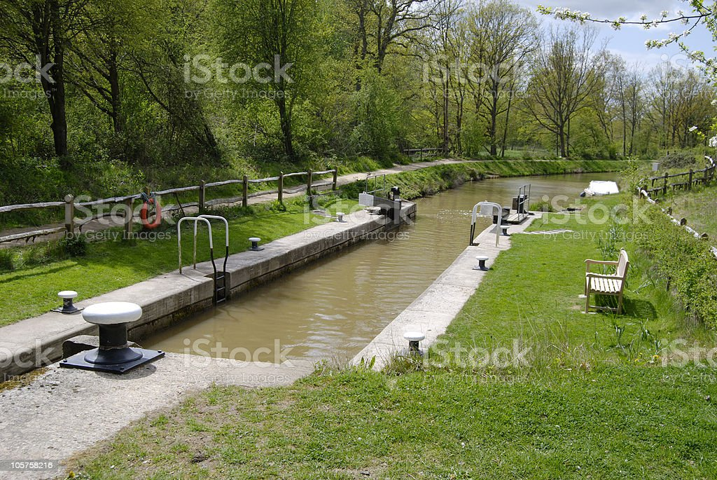 Wey and Arun Canal at Loxwood. Sussex. England royalty-free stock photo