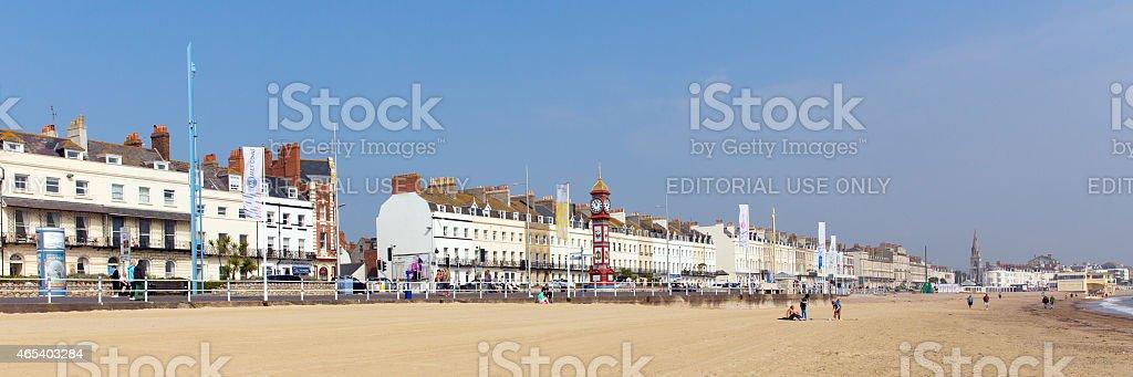 Weymouth beach Dorset UK summer popular tourist destination panorama stock photo