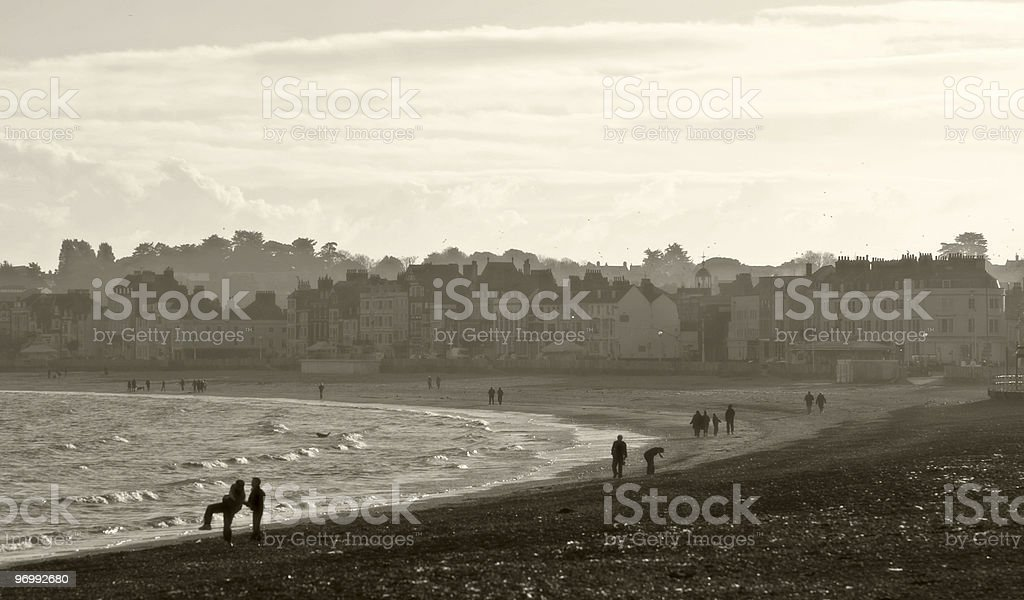 Weymouth beach in Dorset, England at Christmas royalty-free stock photo