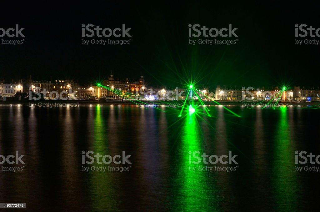 Weymouth Beach Laser lights royalty-free stock photo