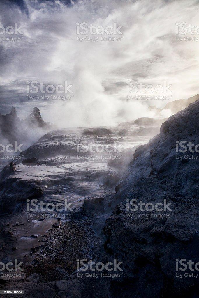 Whakarewarewa Thermal Park in Rotorua, New Zealand stock photo