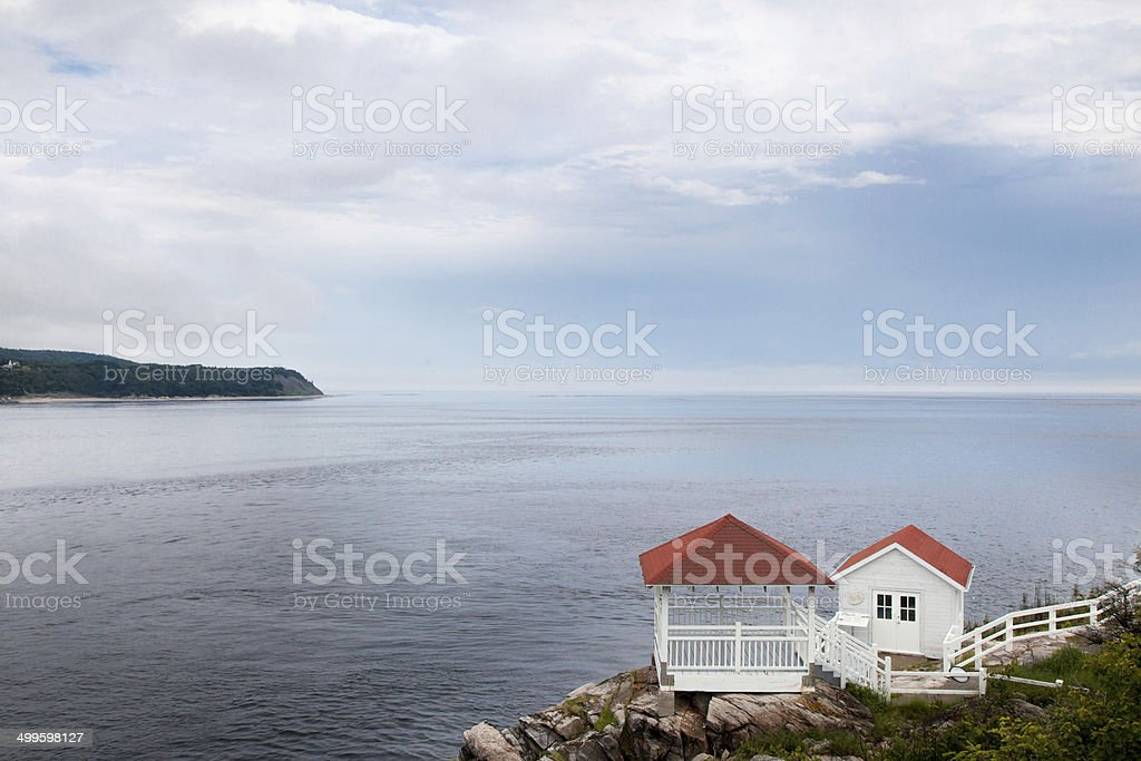 Whales watching houses along the Saint Lawrence River, Tadoussac stock photo