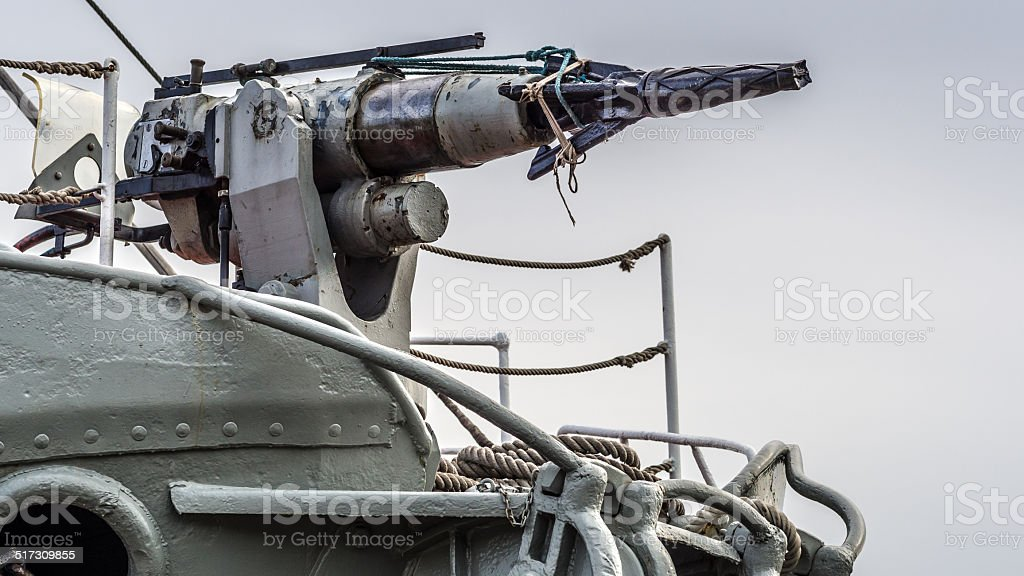 Whaling ship harpoon stock photo