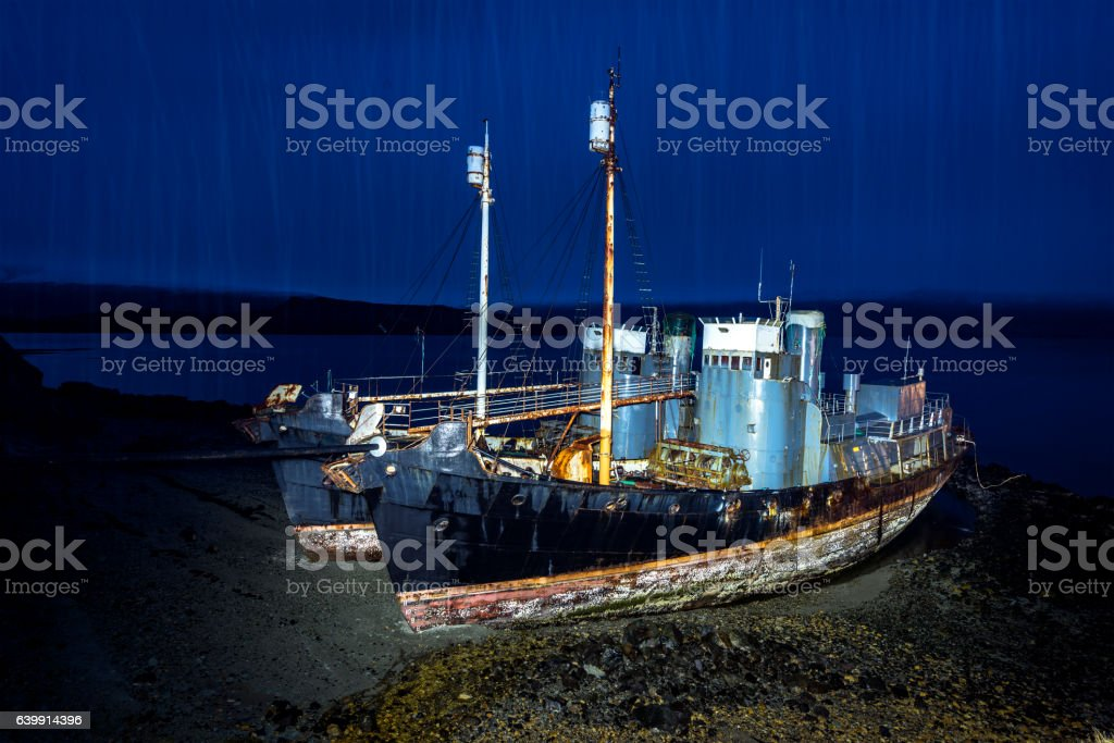 Whaling ships on beach stock photo