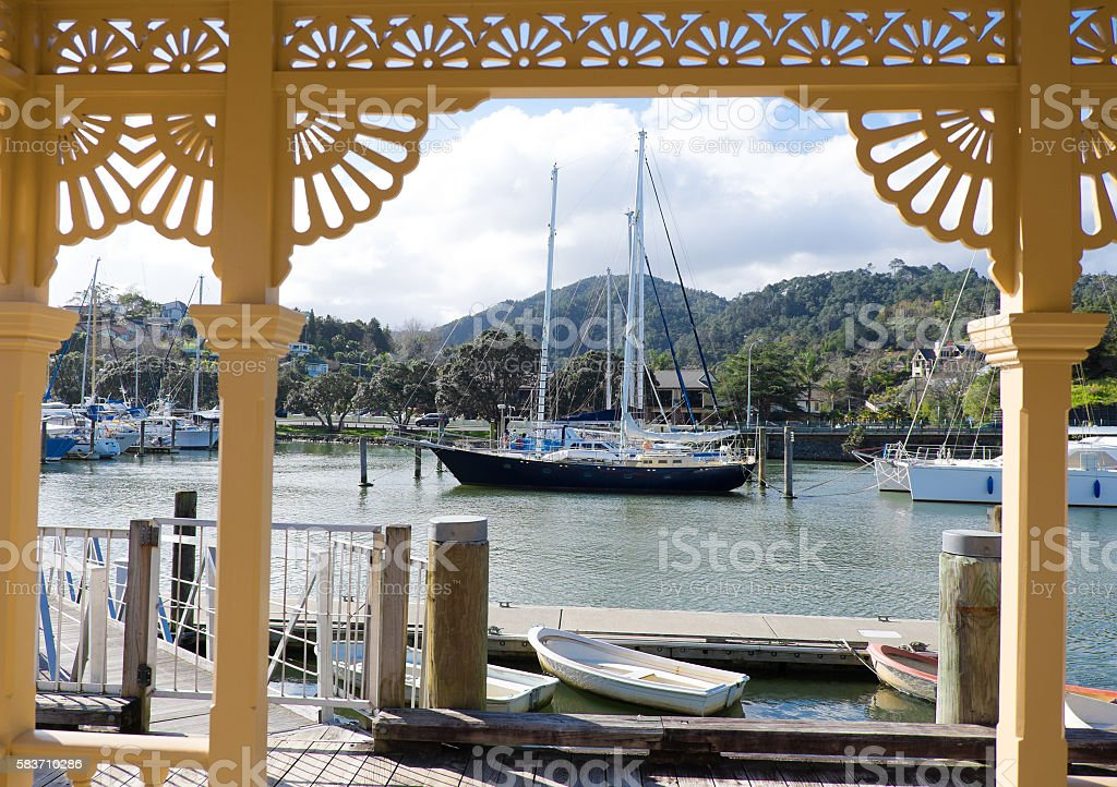 Whangarei marina and town basin heritage building. stock photo