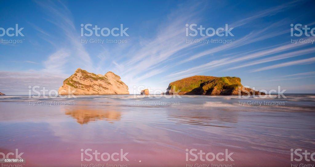 Wharariki beach, south new zealand stock photo