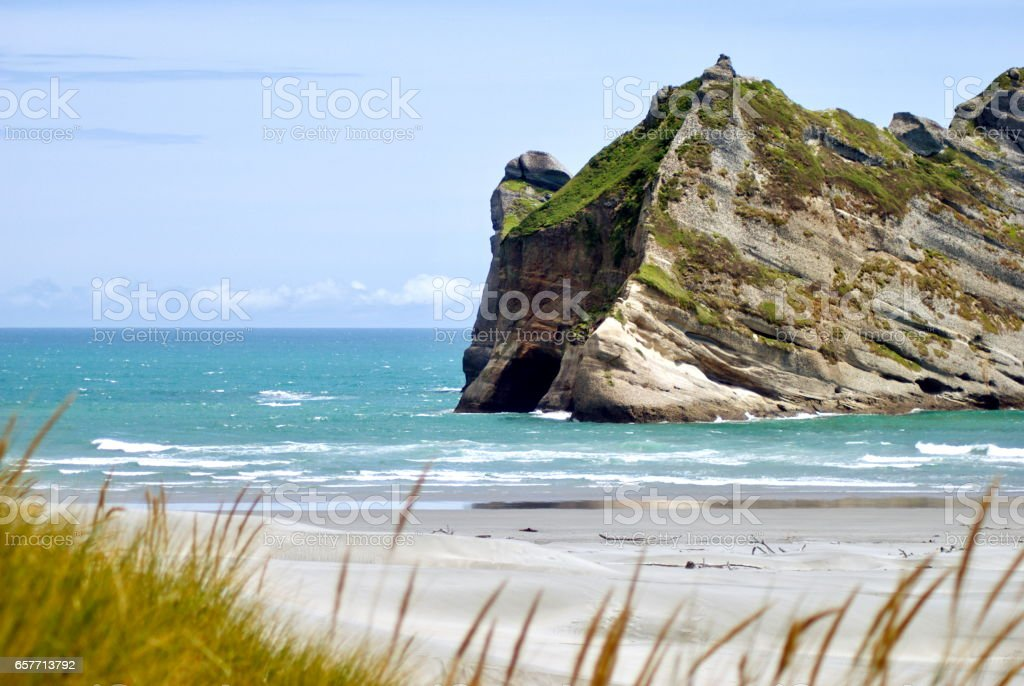 Wharariki Beach, Tasman District, New Zealand stock photo