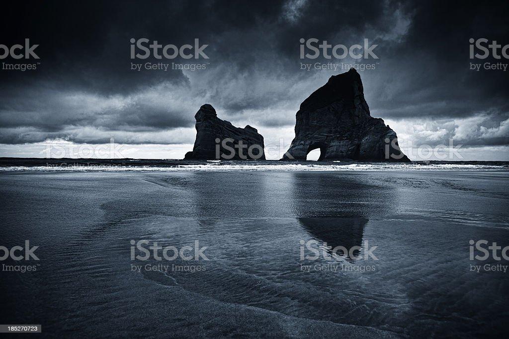Wharariki Beach, Toned Image stock photo