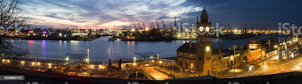 Wharf and harbor of the city Hamburg, Germany, at night stock photo