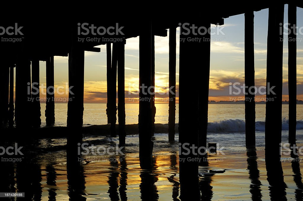 Wharf and Ocean at Sunset royalty-free stock photo