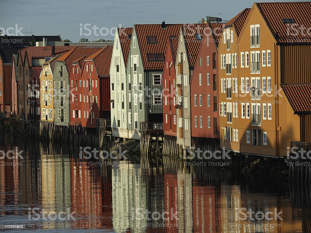Wharf Buildings, Trondheim stock photo