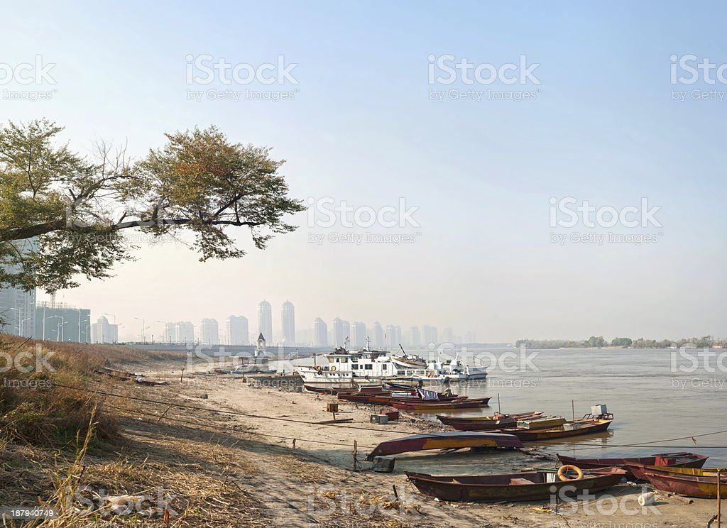 Wharf by the Songhua River stock photo