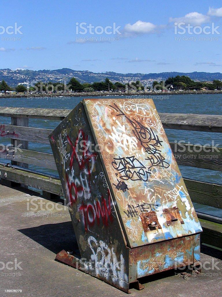 Wharf Graffiti stock photo