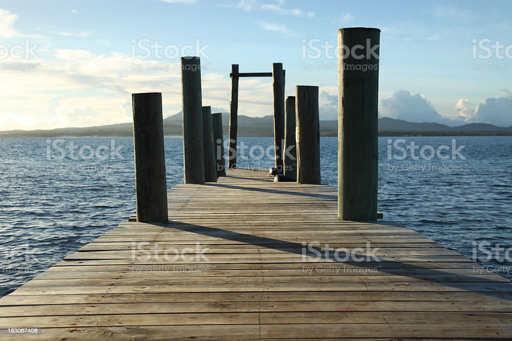 Wharf looking out to Upolu royalty-free stock photo