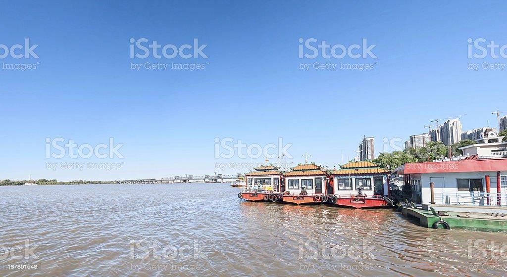 Wharf of Harbin City stock photo