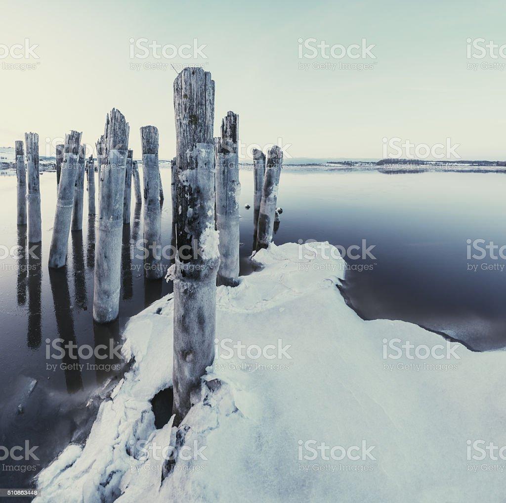 Wharf of Winters Past stock photo