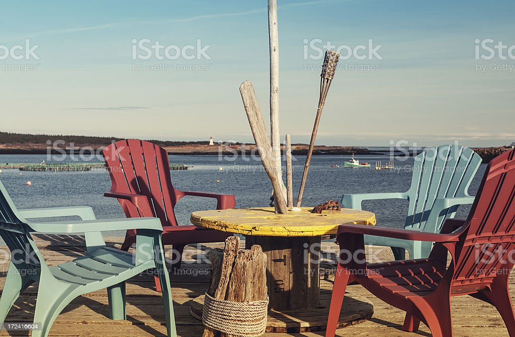 Wharf Seating royalty-free stock photo
