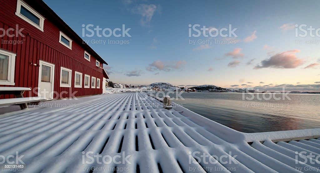 Wharf snowy stock photo