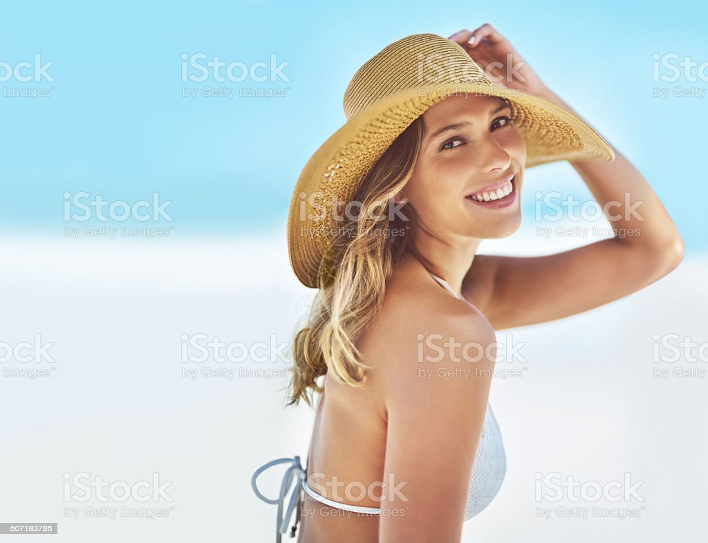 What a beautiful day at the beach stock photo