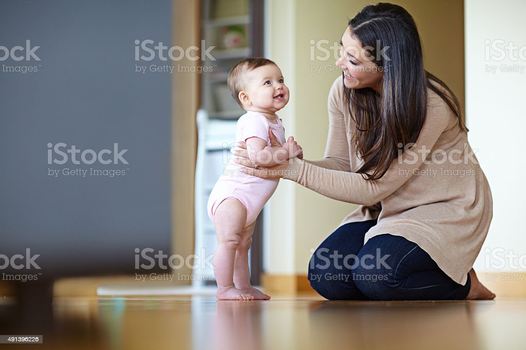 What a big girl you are! stock photo