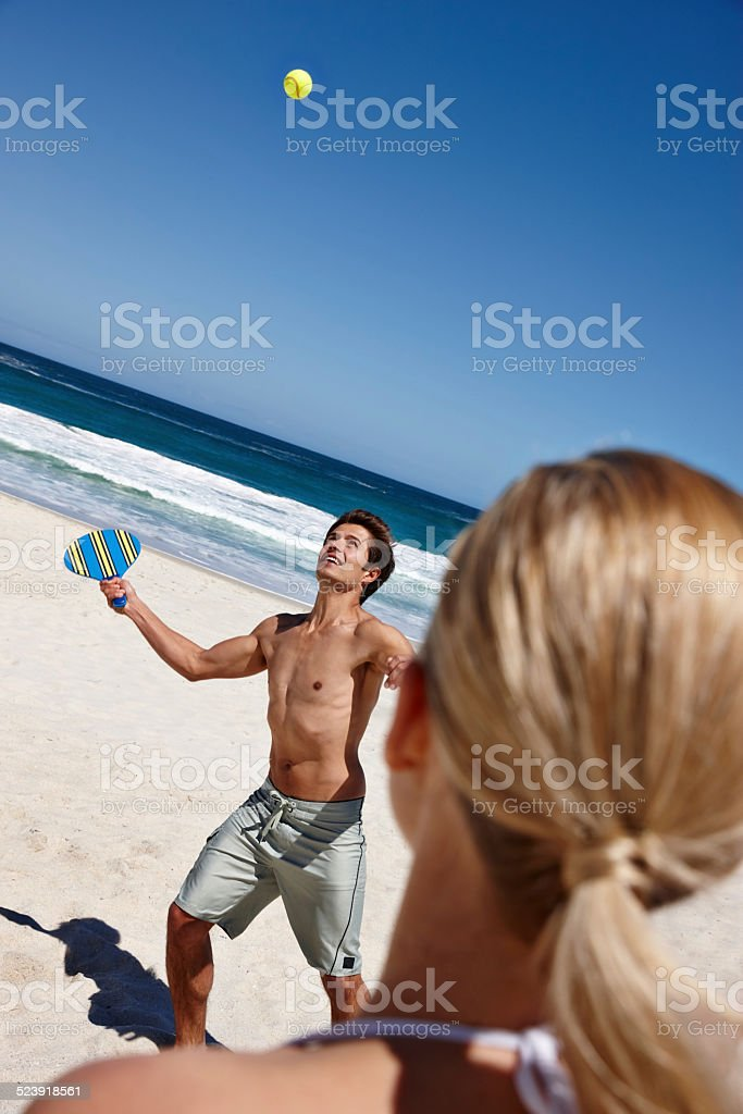 What a fun way to keep fit during summer stock photo