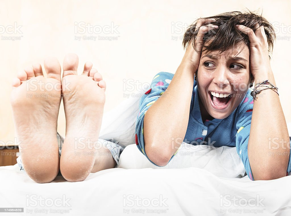 What a Terrible feet's smell royalty-free stock photo