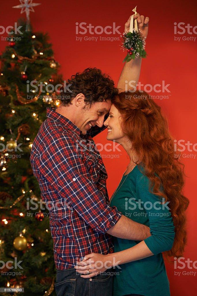 What convenient mistletoe stock photo