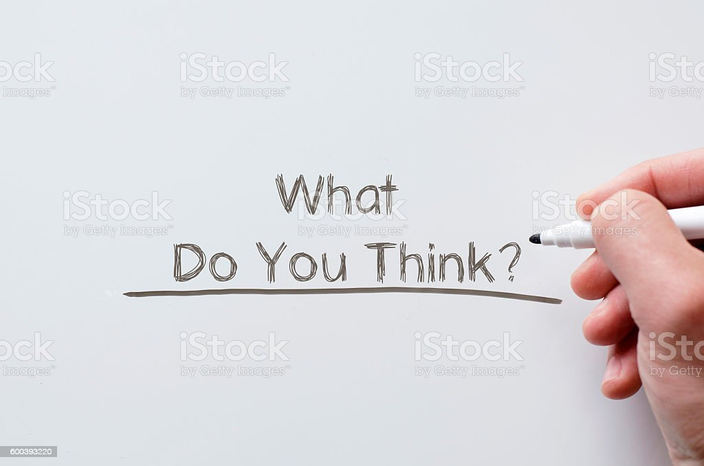 What do you think written on whiteboard stock photo