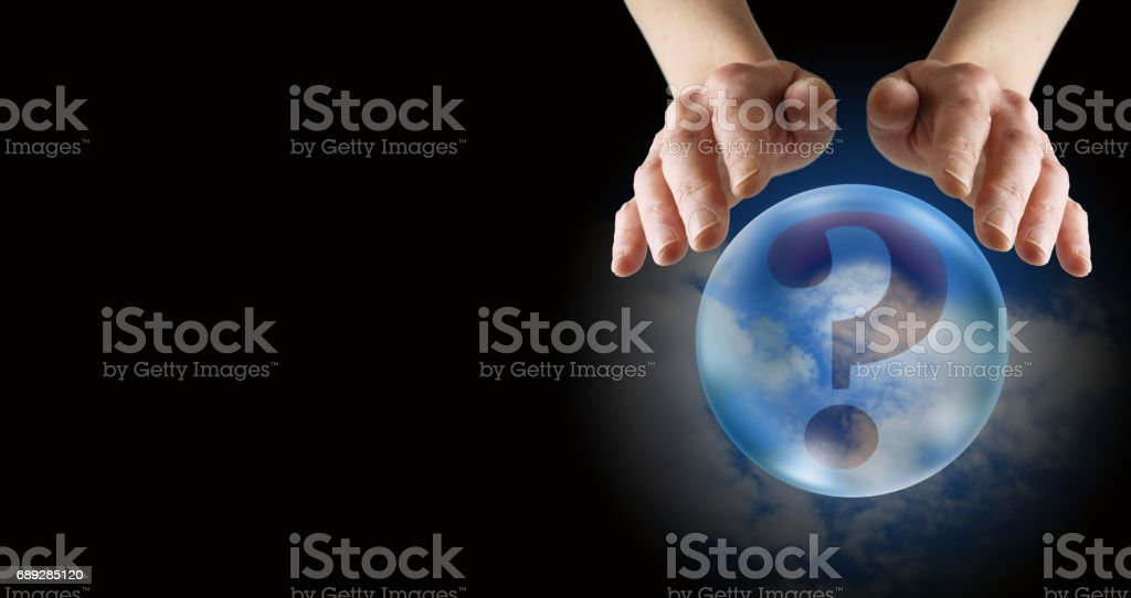 What does the future hold fortune teller's banner stock photo