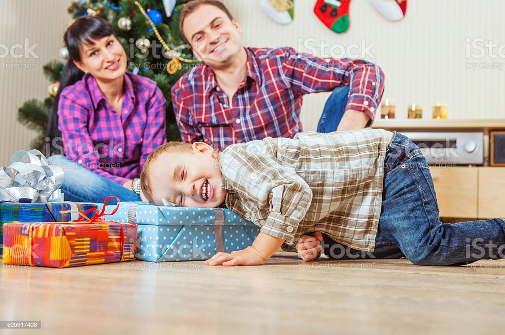 What is in Santa's gift stock photo