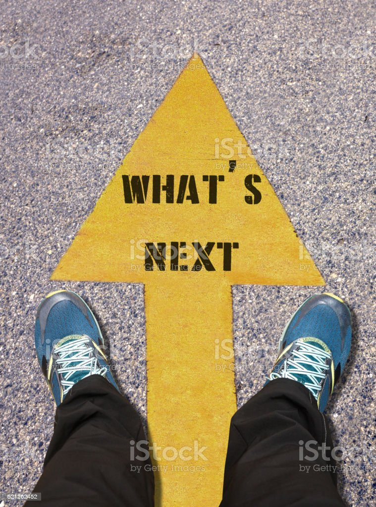 What Is Next Message Painted on Road stock photo