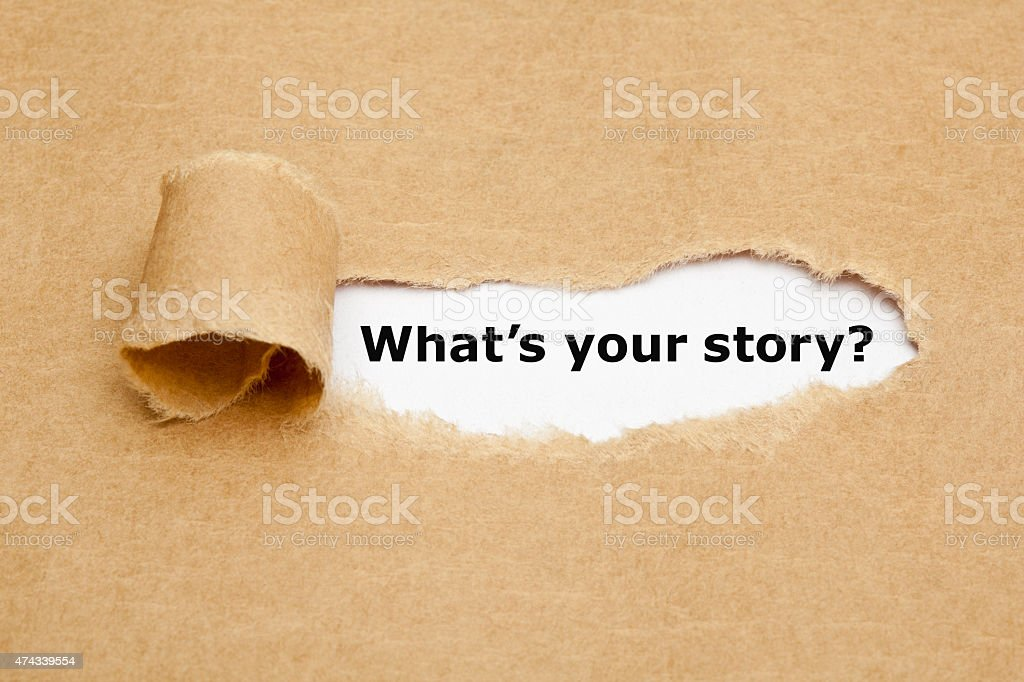 What is Your Story Torn Paper stock photo
