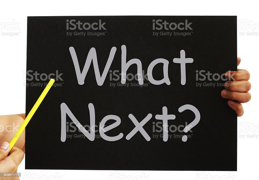 What Next Blackboard Means Following Steps And Planning stock photo