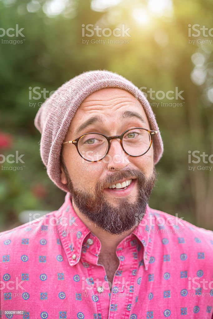 What?? Questioning ironic looking Hipster stock photo