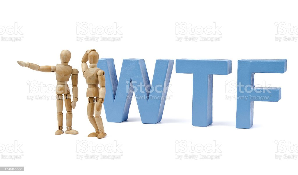 WTF -what the fuck - wooden mannequin and letters stock photo
