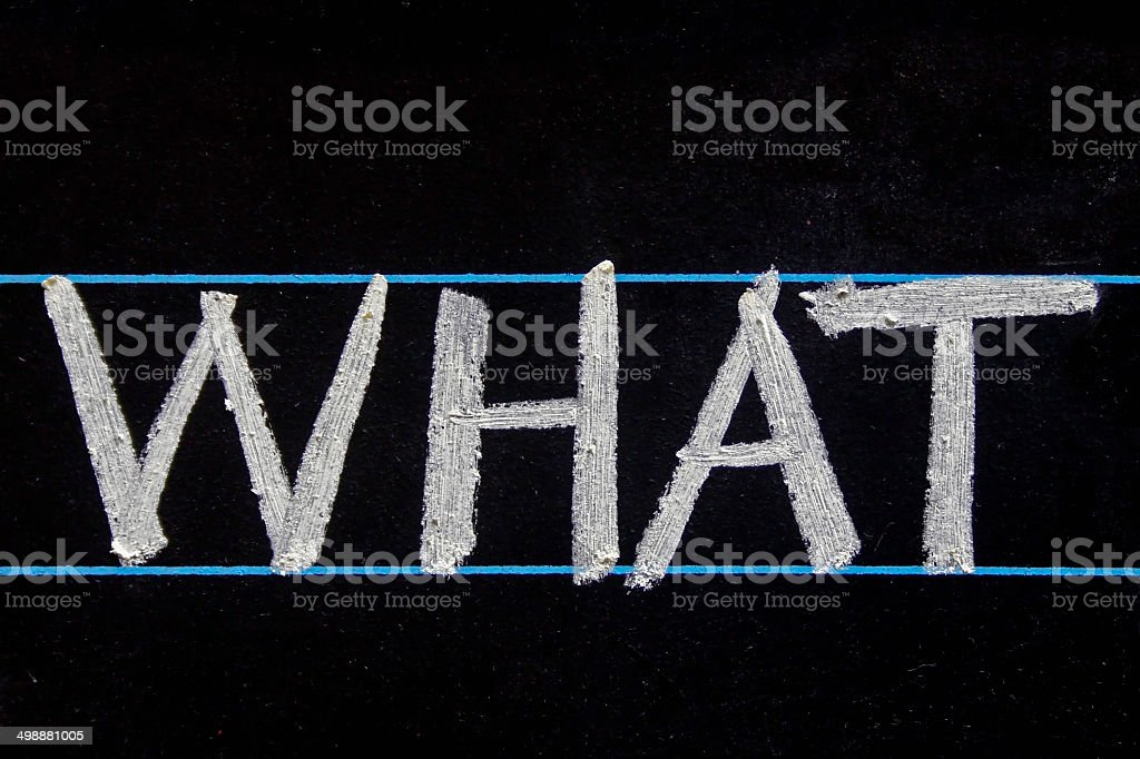 What word handwritten on black chalkboard stock photo