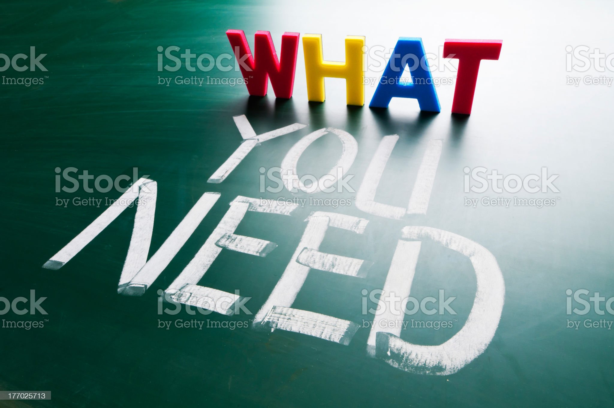 What you need colorful word and words on chalkboard royalty-free stock photo