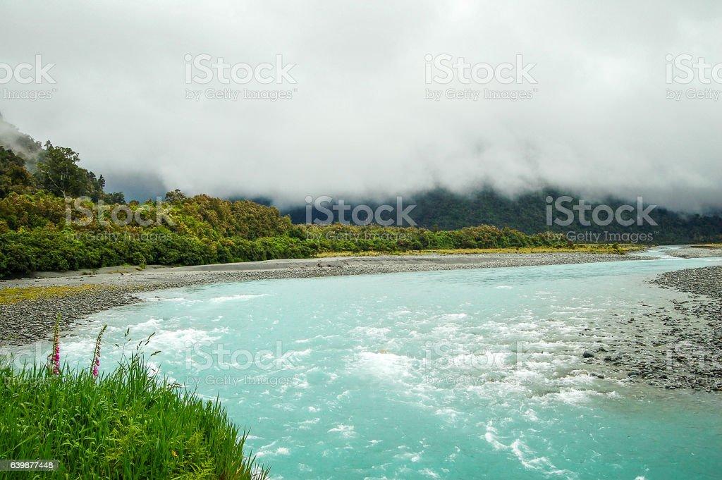 Whataroa River - West Coast stock photo