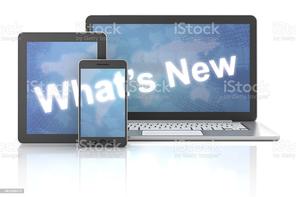 What's new on laptop,digital tablet and smartphone, 3d render stock photo