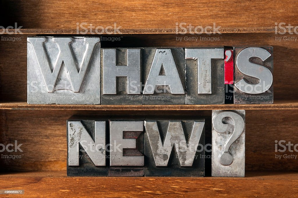 whats new tray stock photo