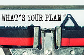 What's your plan typed on white paper with old typewriter
